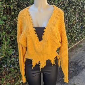 Yellow knit Deep-V boho oversized sweater (S/M)